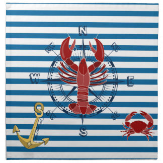 Nautical Ocean Blue and White Stripe Napkins