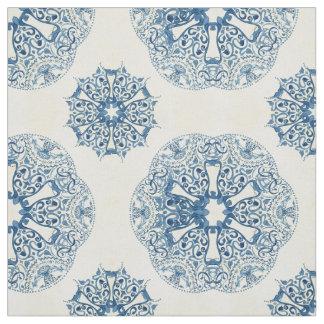 Nautical Ocean Caribbean Island Vintage Tile Blue Fabric