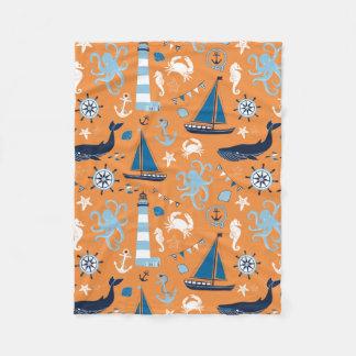 Nautical Ocean Orange Fleece Blanket