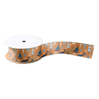 Nautical Ocean Orange Satin Ribbon
