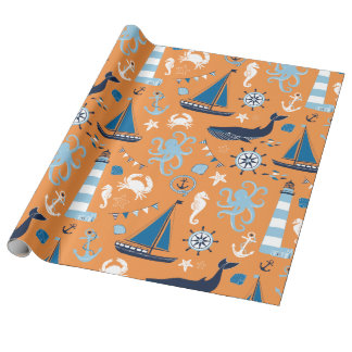 Nautical Ocean Orange Wrapping Paper