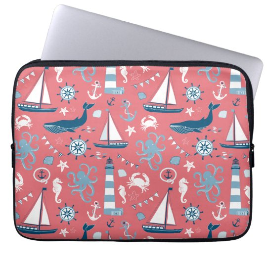 Nautical Ocean Rose Laptop Sleeve