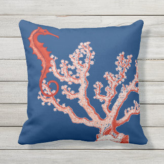 Nautical Ocean Sea Life Red Coral Seahorse Vintage Throw Pillow