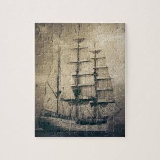 Nautical Ocean Sea Vintage Sailing sailboat Jigsaw Puzzle
