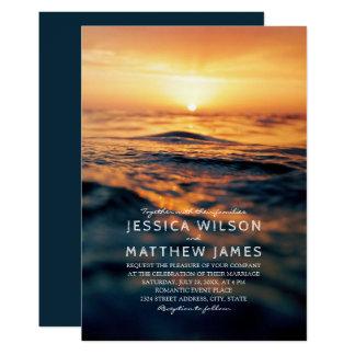 Nautical Ocean Sunset Beach Themed Wedding Card