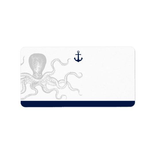 Nautical Octopus | Blank Address Address Label
