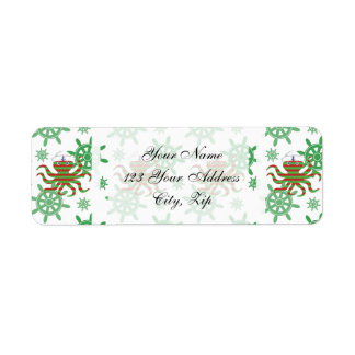 Nautical octopus pattern return address label