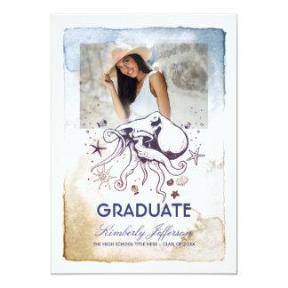 Nautical Octopus Photo Graduation Card
