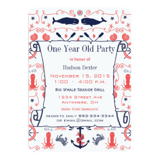 Nautical One Year Old Birthday Coral Navy 13 Cm X 18 Cm Invitation Card