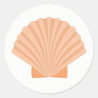 Nautical Orange Seashell Beach Wedding Classic Round Sticker