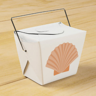 Nautical Orange Seashell Beach Wedding Favour Box