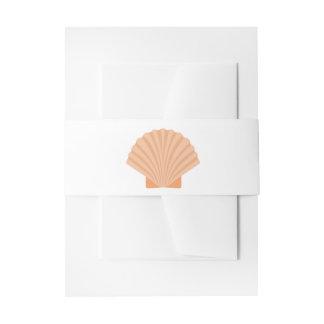 Nautical Orange Seashell Wedding - Shells Invitation Belly Band