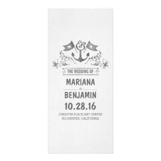 nautical painted anchor wedding programs customized rack card