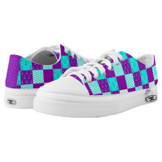 Nautical Patchwork Shoes Purple/Teal Printed Shoes