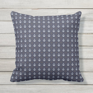 nautical pattern of anchors blue outdoor cushion