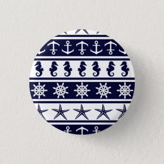Nautical pattern on custom background color 3 cm round badge