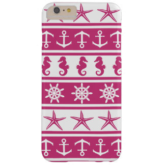 Nautical pattern on custom background color barely there iPhone 6 plus case