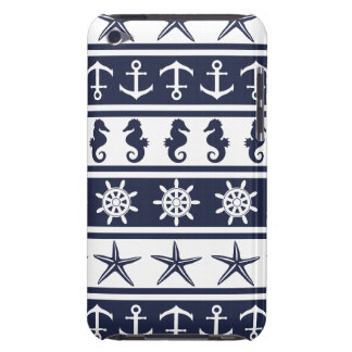 Nautical pattern on custom background color barely there iPod cases