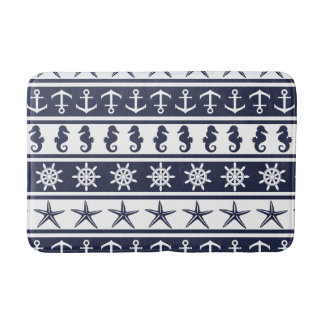 Nautical pattern on custom background color bath mat