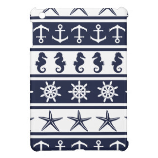 Nautical pattern on custom background color case for the iPad mini