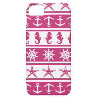 Nautical pattern on custom background color case for the iPhone 5