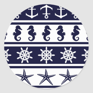 Nautical pattern on custom background color classic round sticker