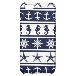 Nautical pattern on custom background color cover for iPhone 5C