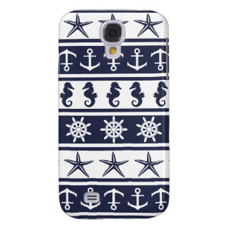 Nautical pattern on custom background color galaxy s4 case
