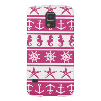Nautical pattern on custom background color galaxy s5 cover