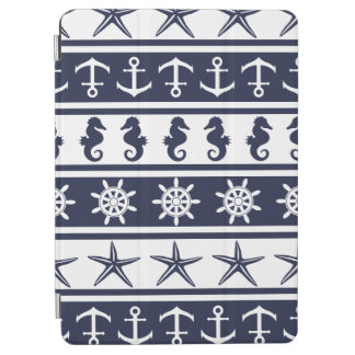 Nautical pattern on custom background color iPad air cover