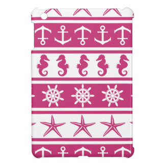 Nautical pattern on custom background color iPad mini cases