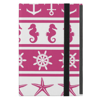 Nautical pattern on custom background color iPad mini cover
