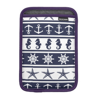 Nautical pattern on custom background color iPad mini sleeve