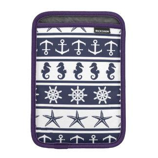 Nautical pattern on custom background color iPad mini sleeves