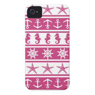 Nautical pattern on custom background color iPhone 4 Case-Mate cases