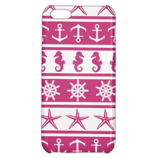 Nautical pattern on custom background color iPhone 5C cover