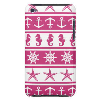 Nautical pattern on custom background color iPod touch cover