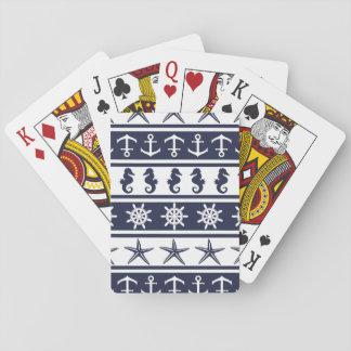 Nautical pattern on custom background color playing cards