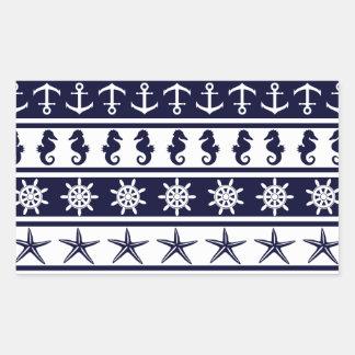 Nautical pattern on custom background color rectangular sticker