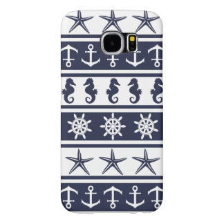 Nautical pattern on custom background color samsung galaxy s6 cases