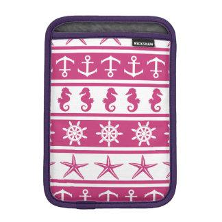 Nautical pattern on custom background color sleeve for iPad mini