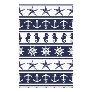 Nautical pattern on custom background color stationery