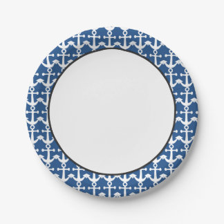 Nautical Pattern   White and Blue Paper Plate