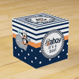 Nautical Penguin and Whale Baby Shower Favour Box