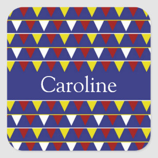 Nautical Pennants on Blue Personalized Square Sticker