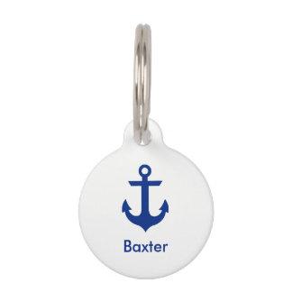 Nautical Personalised Dog Tag-Phone on Back White Pet Name Tag