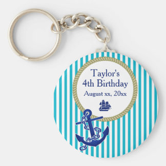 Nautical Personalized Birthday Party Key Ring