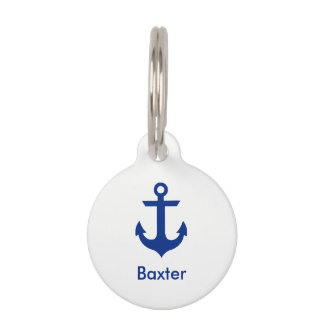 Nautical Personalized Dog Tag-Phone on Back White Pet Name Tag