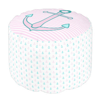 Nautical Pink and Teal Anchors Pouf