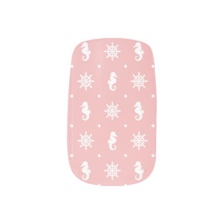 Nautical pink coral pattern minx nail art